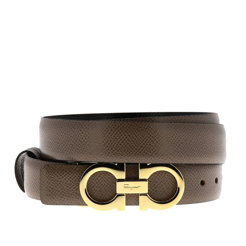 Adjustable and reversible Gancini genuine score leather belt dove grey 1