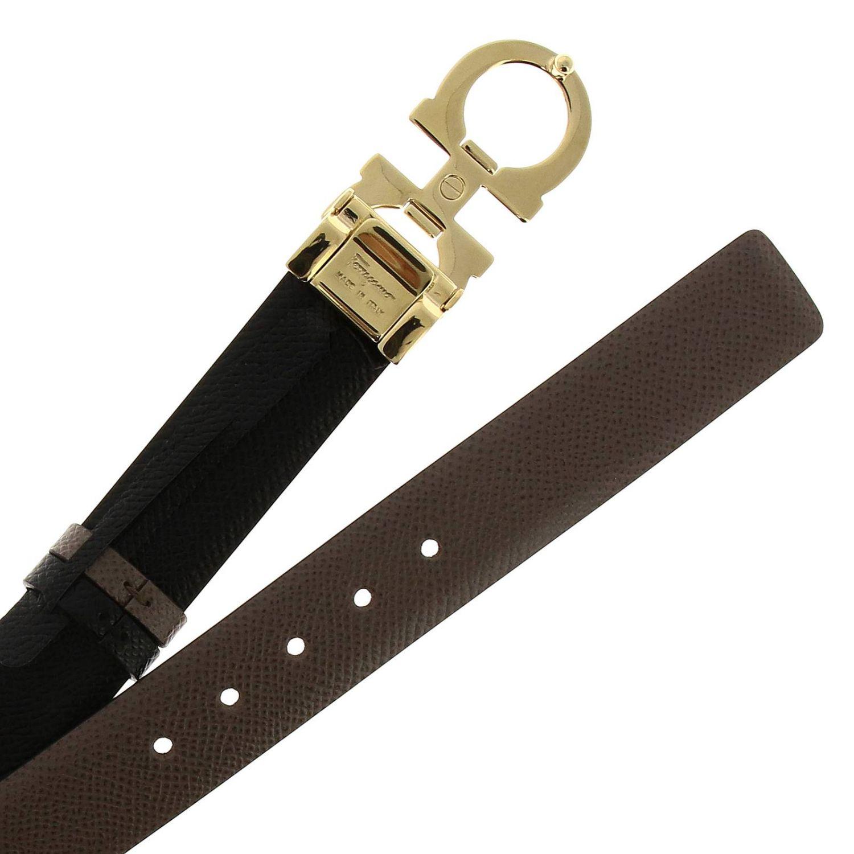 Adjustable and reversible Gancini genuine score leather belt dove grey 2
