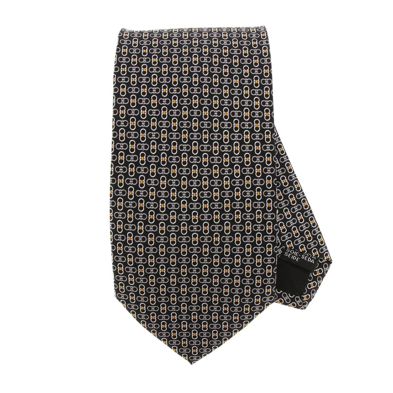 Pure silk tie 8 cm with all over Mediterranean hook print black 1