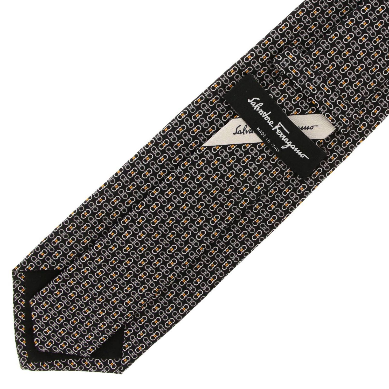 Pure silk tie 8 cm with all over Mediterranean hook print black 2