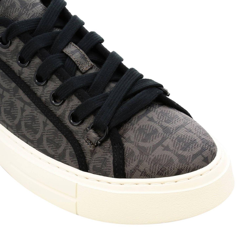 Sneakers Amson Salvatore Ferragamo stringata in vera pelle con logo all over marrone 3