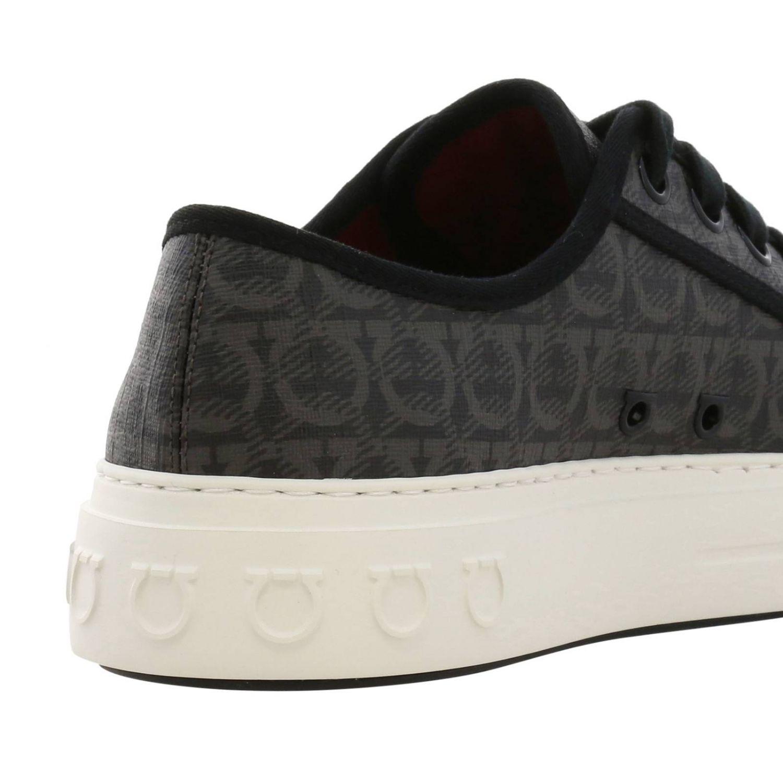Sneakers Amson Salvatore Ferragamo stringata in vera pelle con logo all over marrone 4