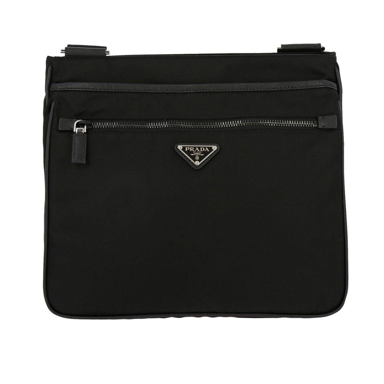 Bandolera Prada de nylon con logo triangular negro 1