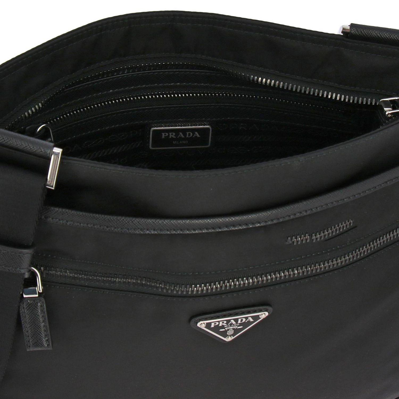 Bandolera Prada de nylon con logo triangular negro 5