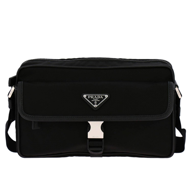 Prada Camera nylon bag with triangular logo and buckle black 1