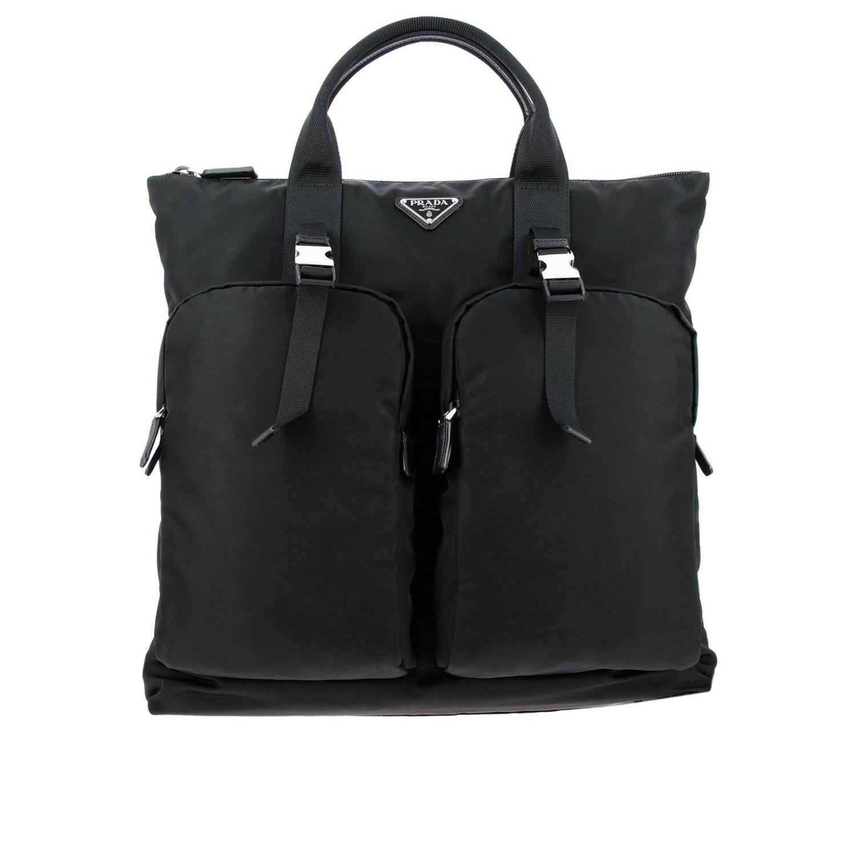 Sac cabas shopping bag Prada en nylon avec maxi-poches et logo triangulaire noir 1