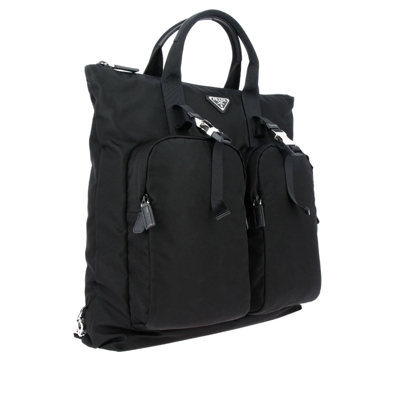 Sac cabas shopping bag Prada en nylon avec maxi-poches et logo triangulaire noir 3