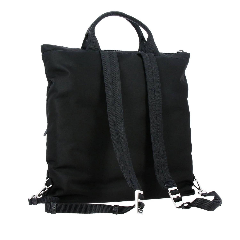 Sac cabas shopping bag Prada en nylon avec maxi-poches et logo triangulaire noir 4