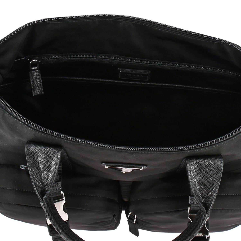 Sac cabas shopping bag Prada en nylon avec maxi-poches et logo triangulaire noir 6