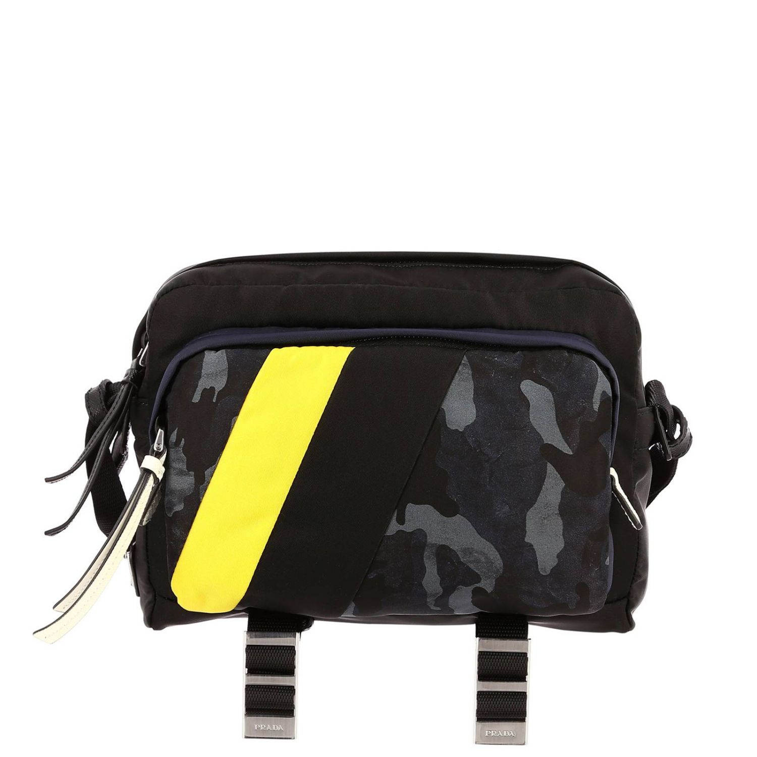 Bandolier Camera Bag in Nylon with camouflage details and contrasts black 1