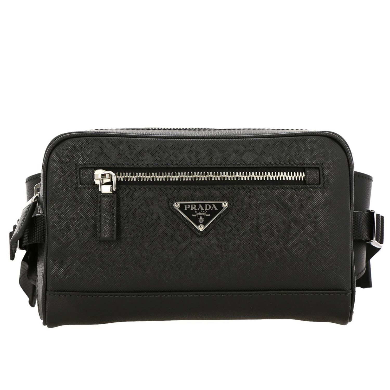 Prada pouch in saffiano leather with triangular logo black 1