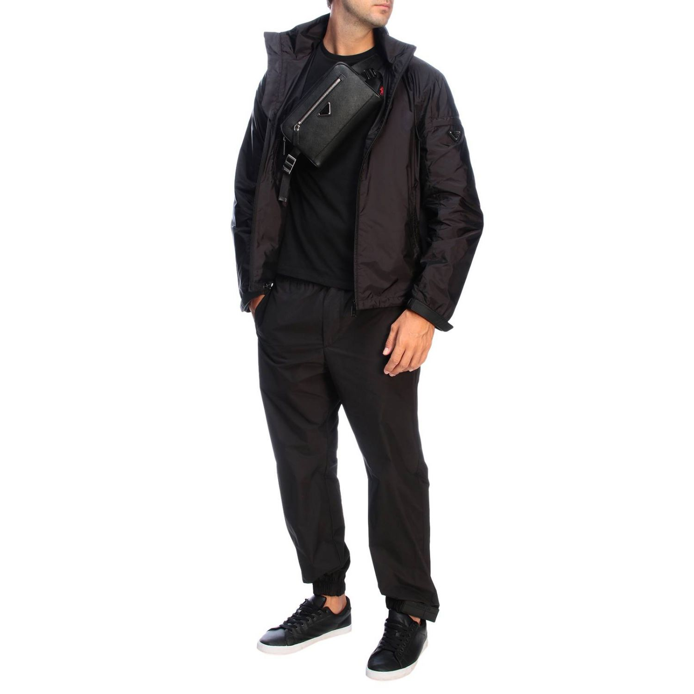 Prada pouch in saffiano leather with triangular logo black 2