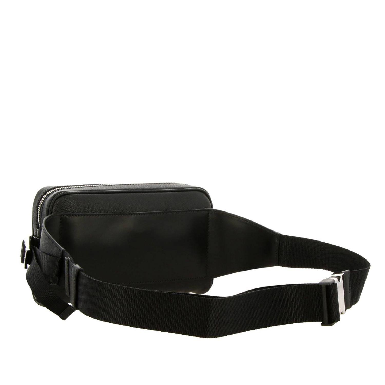 Prada pouch in saffiano leather with triangular logo black 3