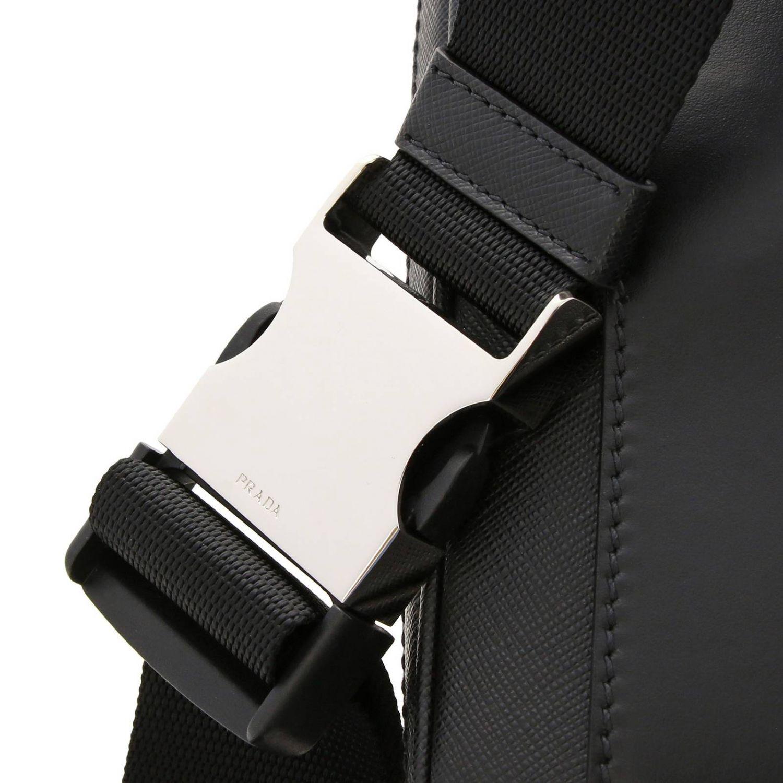 Prada pouch in saffiano leather with triangular logo black 4
