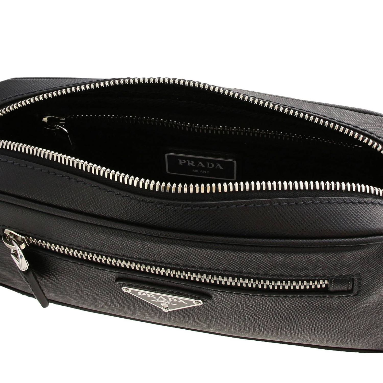 Prada pouch in saffiano leather with triangular logo black 5