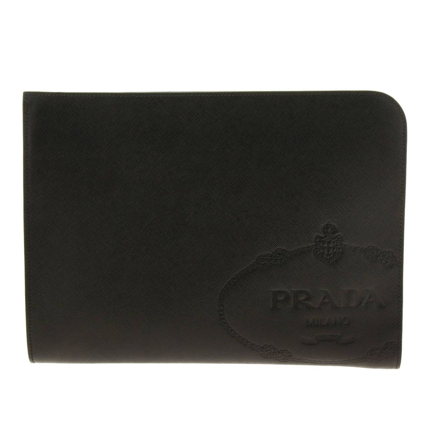 Briefcase Prada: Prada maxi pochette in saffiano leather with embossed Cartiglio logo black 1