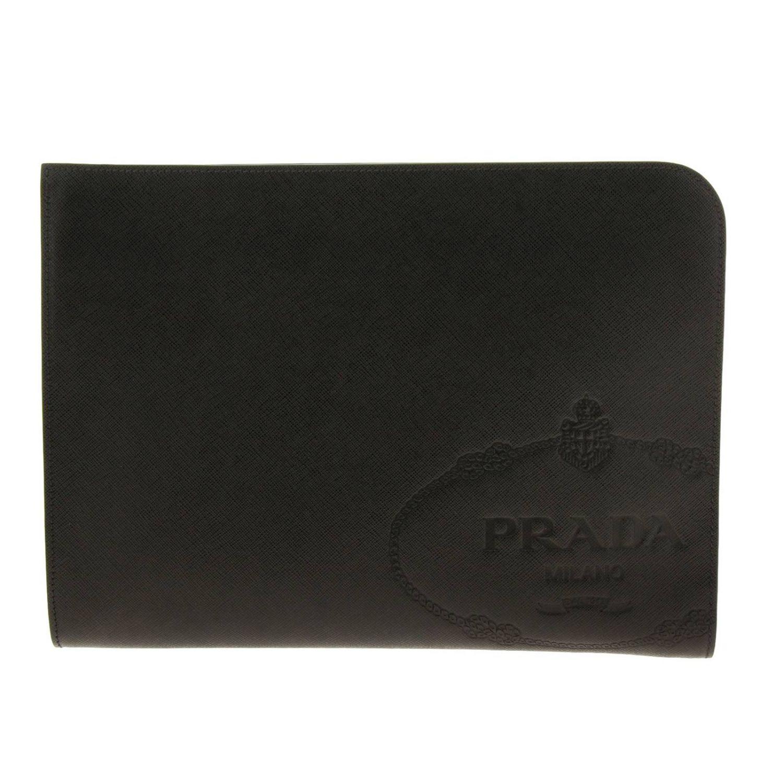 Сумка-пошет Prada из сафьяновой кожи с логотипом Cartiglio черный 1