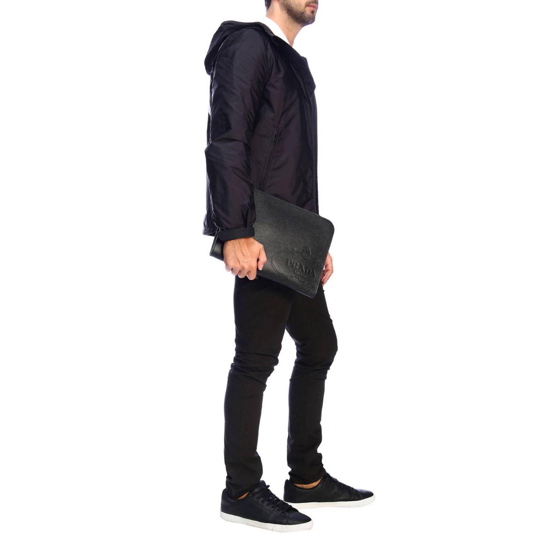Сумка-пошет Prada из сафьяновой кожи с логотипом Cartiglio черный 2