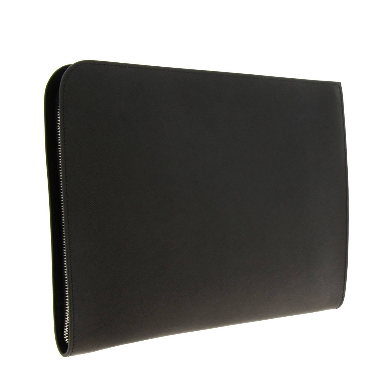 Сумка-пошет Prada из сафьяновой кожи с логотипом Cartiglio черный 3