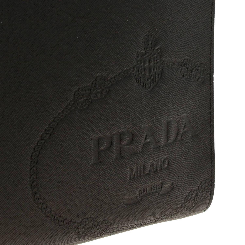 Сумка-пошет Prada из сафьяновой кожи с логотипом Cartiglio черный 4