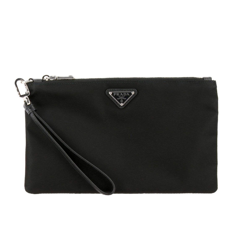 Prada Beauty Case aus Nylon mit dreieckigem Logo schwarz 1