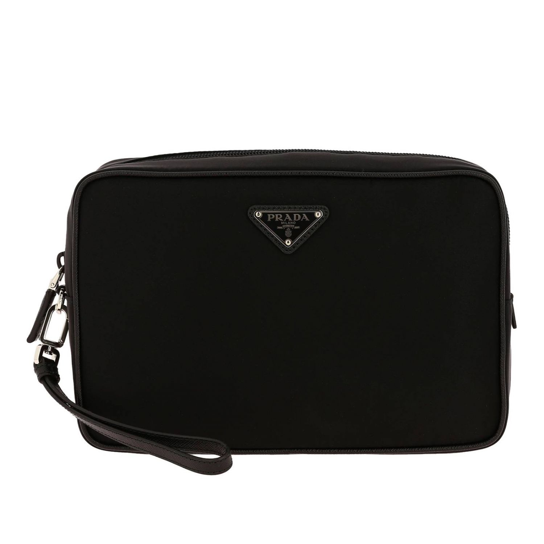 Beauty Case moyen en nylon avec logo Prada triangulaire noir 1