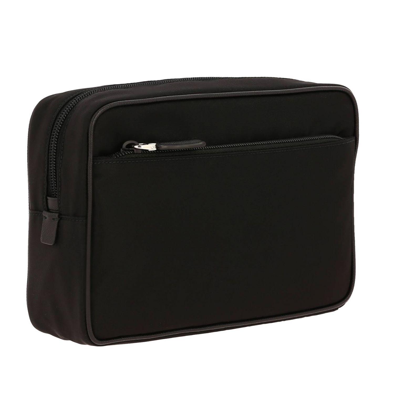 Beauty Case moyen en nylon avec logo Prada triangulaire noir 2