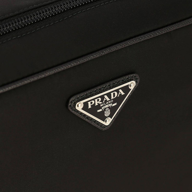 Beauty Case moyen en nylon avec logo Prada triangulaire noir 3