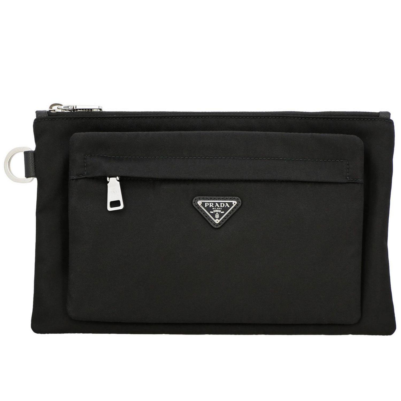 Pochette Prada in nylon con logo triangolare nero 1