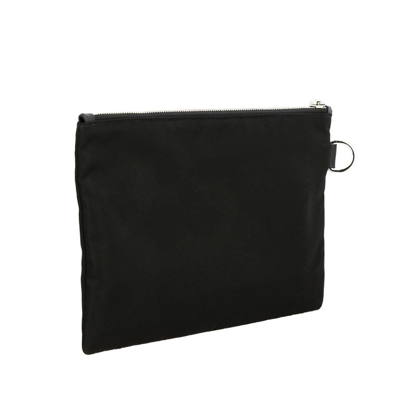 Pochette Prada in nylon con logo triangolare nero 3