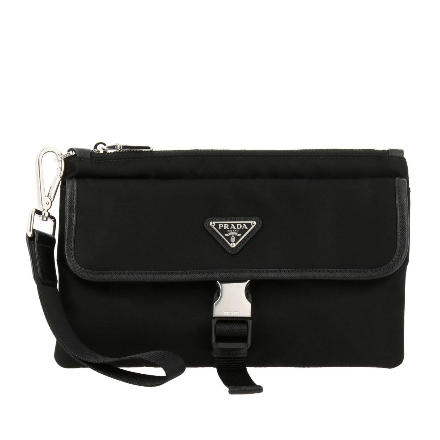 Prada nylon clutch bag with triangular logo and buckle black 1
