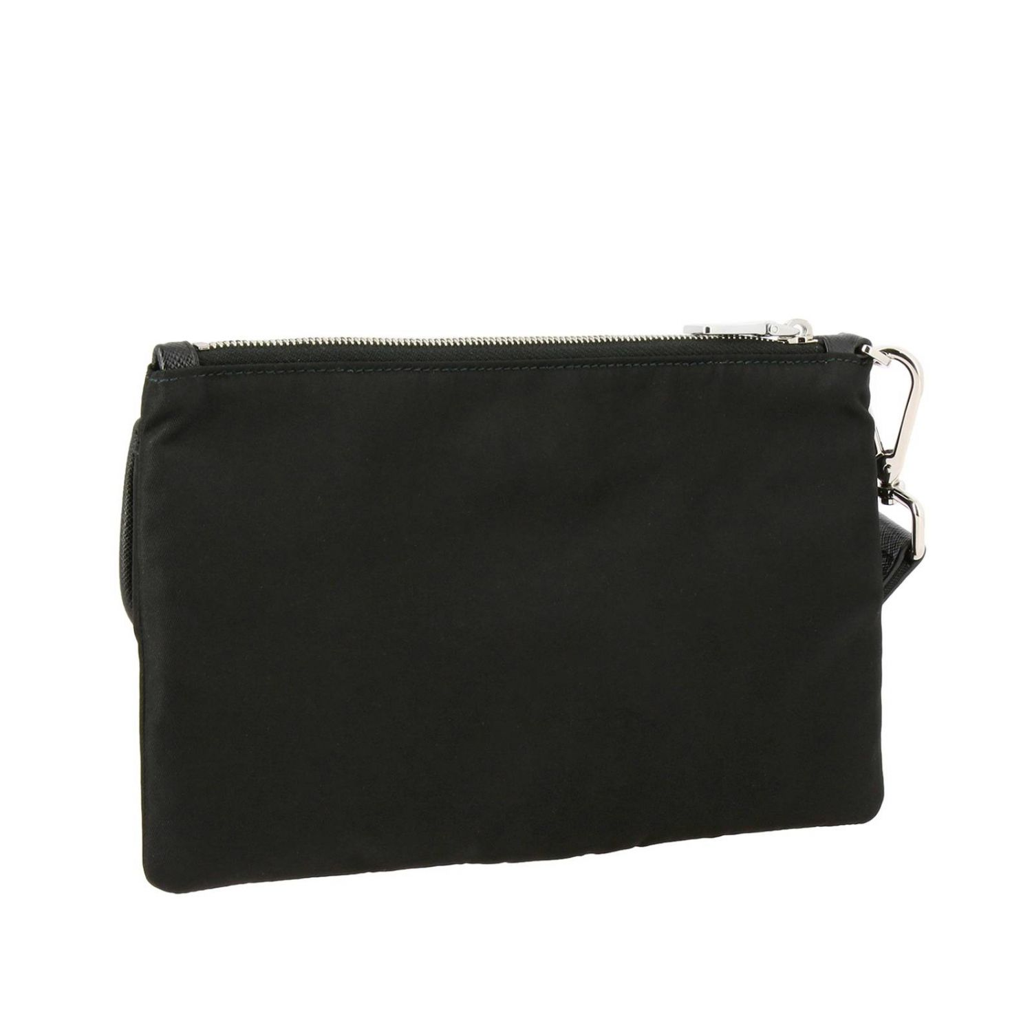 Prada nylon clutch bag with triangular logo and buckle black 3