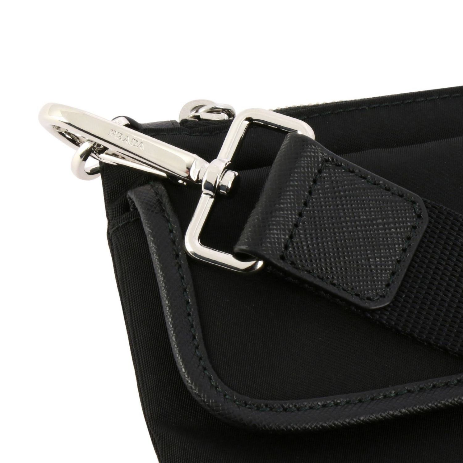 Prada nylon clutch bag with triangular logo and buckle black 4