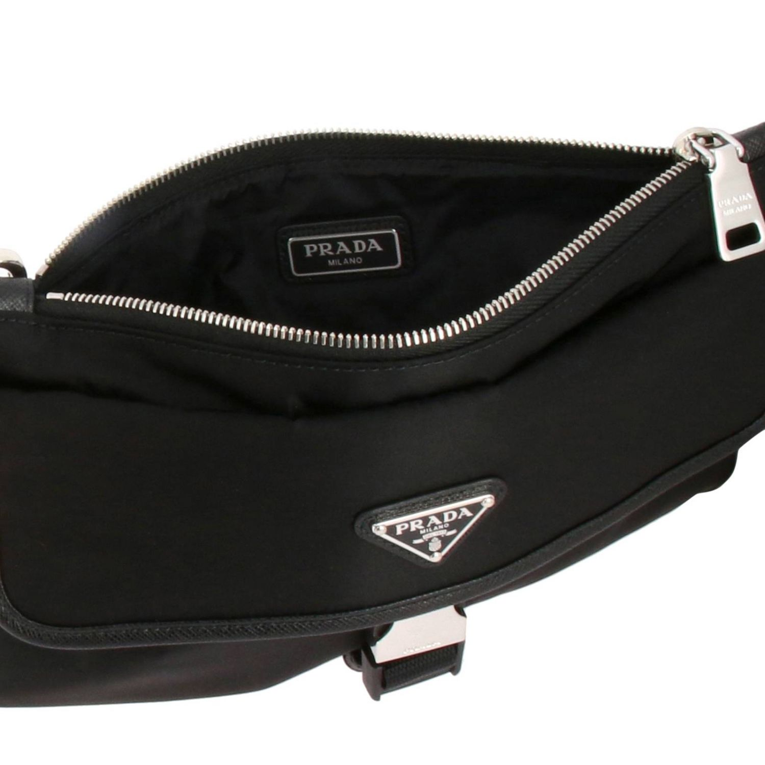 Prada nylon clutch bag with triangular logo and buckle black 5