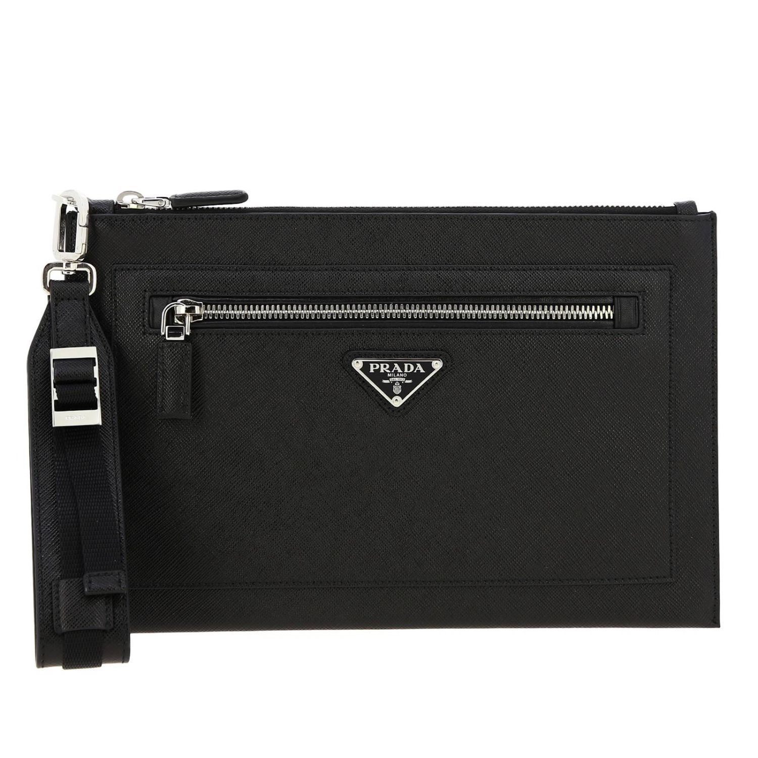 Briefcase Prada: Prada saffiano leather clutch bag full zip with logo black 1