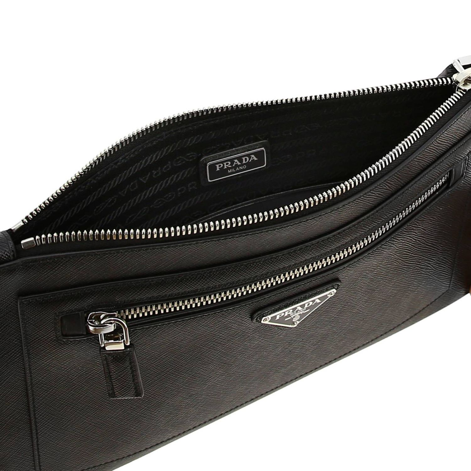 Briefcase Prada: Prada saffiano leather clutch bag full zip with logo black 5