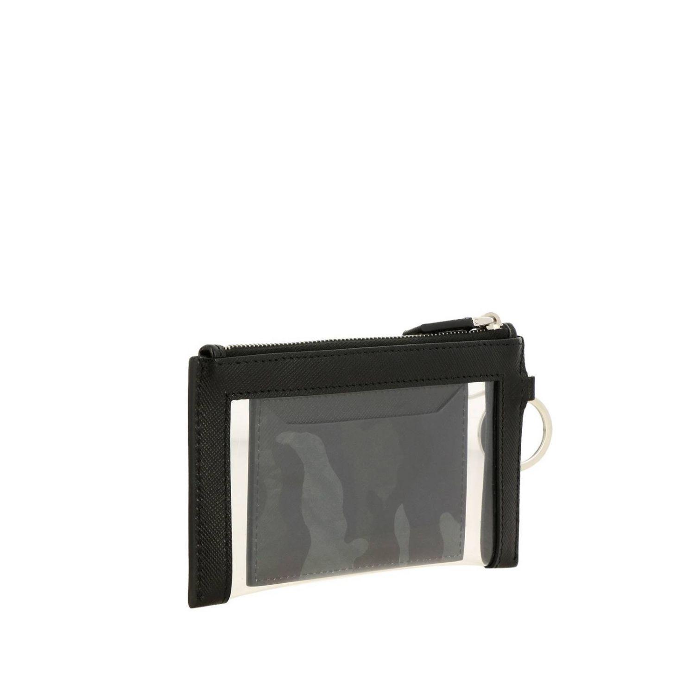 Prada 三角logo装饰PVC挂脖手包和卡包 黑色 3