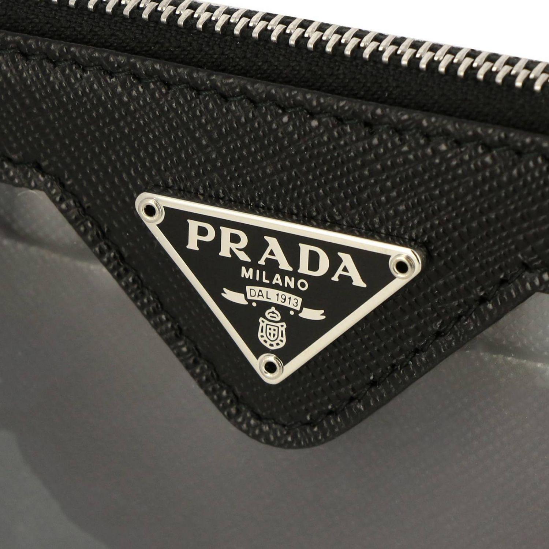Prada 三角logo装饰PVC挂脖手包和卡包 黑色 4