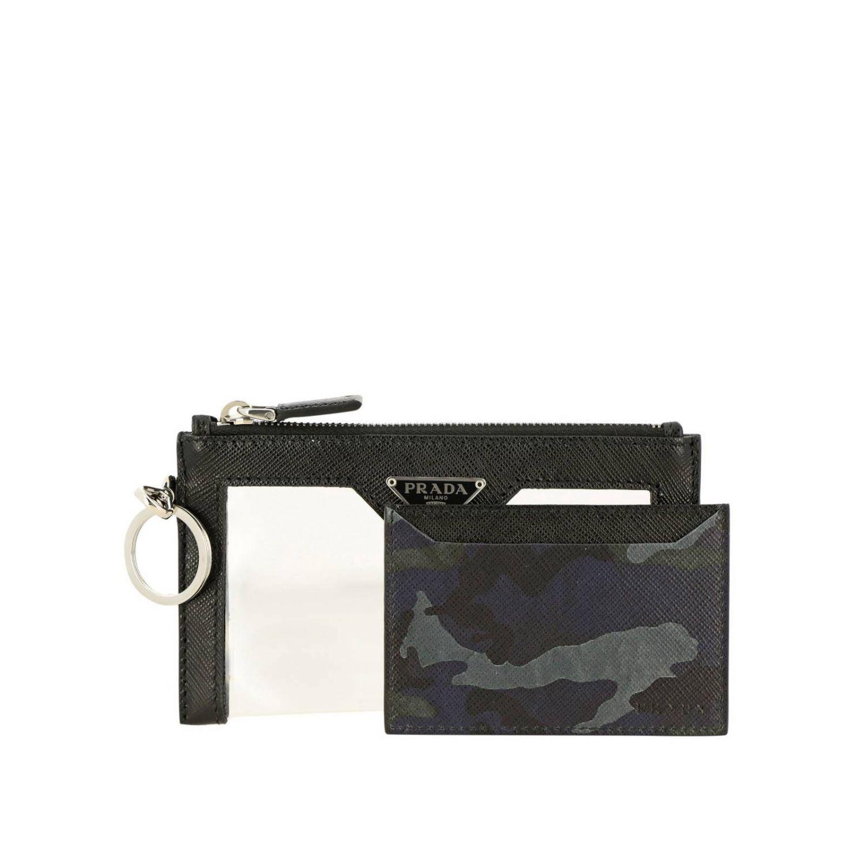 Prada 三角logo装饰PVC挂脖手包和卡包 黑色 5