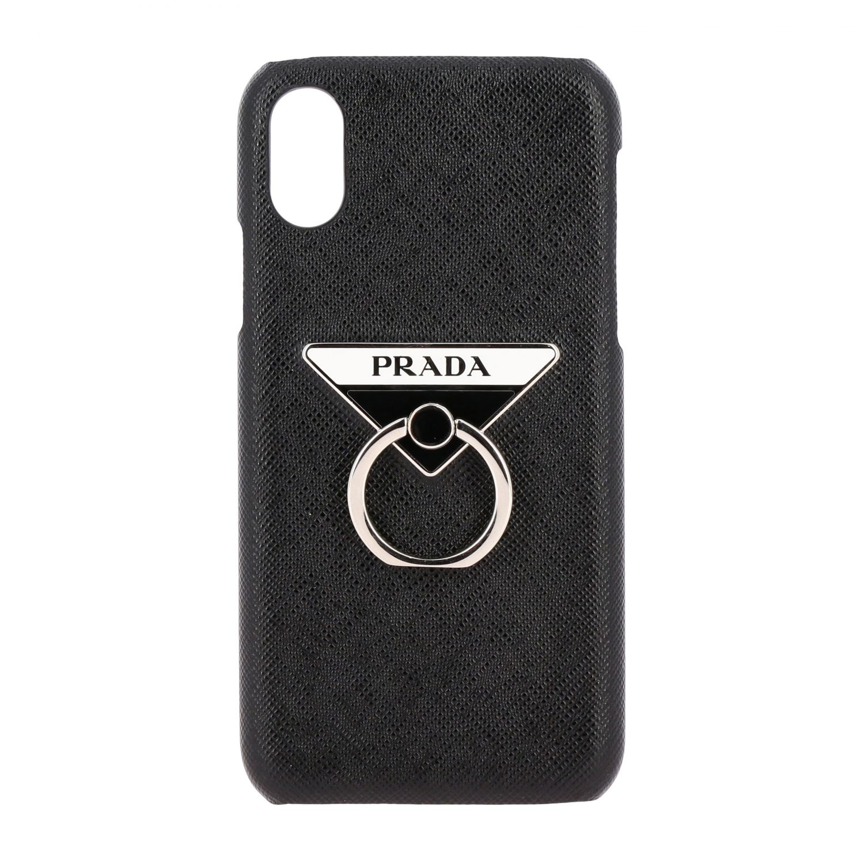 Coque Prada Iphone XS en cuir Saffiano avec logo triangulaire noir 1