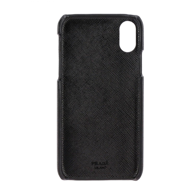 Coque Prada Iphone XS en cuir Saffiano avec logo triangulaire noir 2