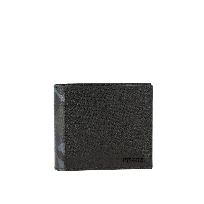 Prada Geldbörse aus Saffiano-Leder mit Metalllogo und Tarnungsdetails schwarz 1