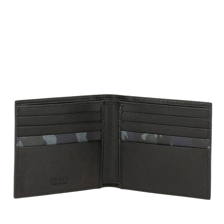 Prada Geldbörse aus Saffiano-Leder mit Metalllogo und Tarnungsdetails schwarz 2