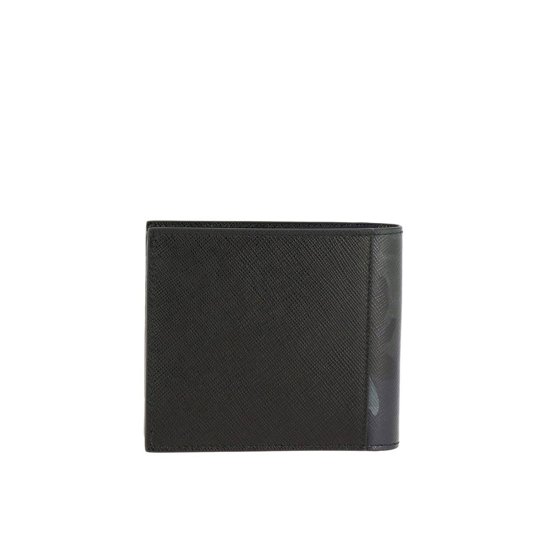 Prada Geldbörse aus Saffiano-Leder mit Metalllogo und Tarnungsdetails schwarz 3