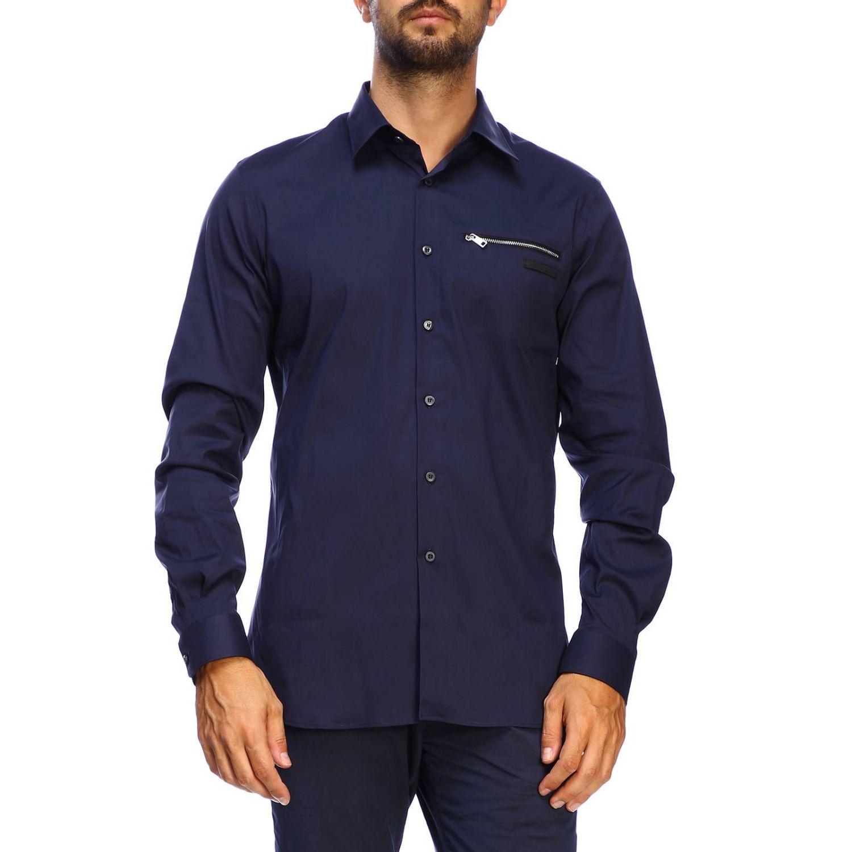 Prada 弹性府绸拉链口袋经典领衬衫 海军蓝 1