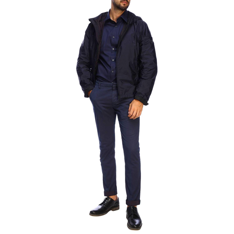 Prada 弹性府绸拉链口袋经典领衬衫 海军蓝 2