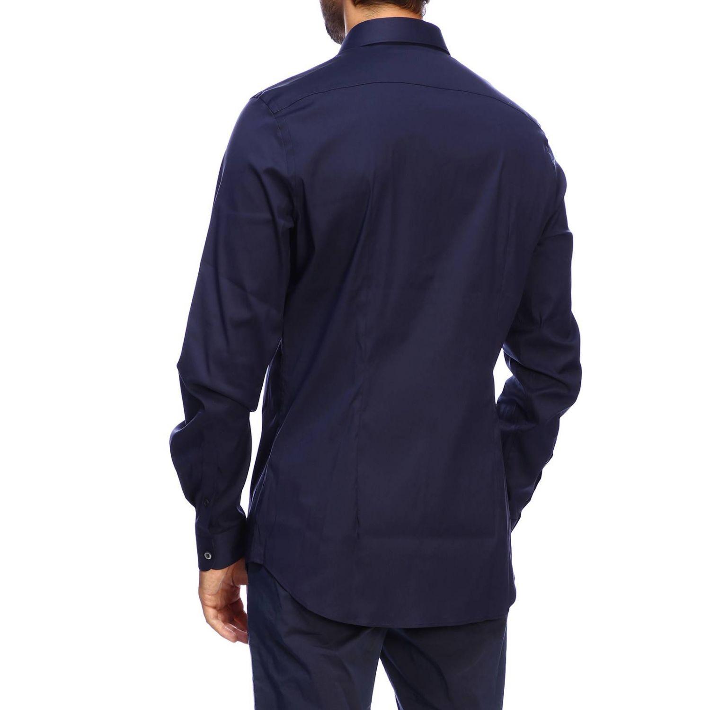 Camicia Prada: Camicia Prada in popeline stretch con collo italiano e tasca con zip blue navy 3
