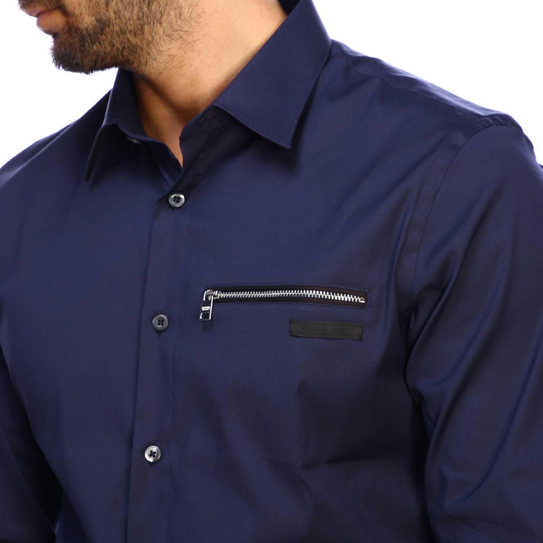 Prada 弹性府绸拉链口袋经典领衬衫 海军蓝 4