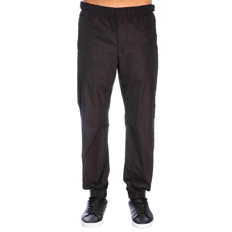 Pantalone Prada techno popeline travel con fibbia a strappo in gomma nero 1