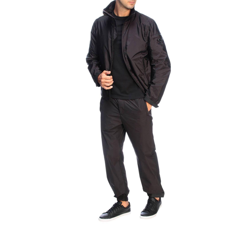 Pantalone Prada techno popeline travel con fibbia a strappo in gomma nero 2